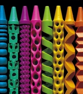 bright, carved crayons and colour