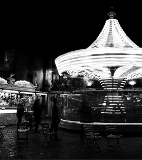 black & white, black and white and carrousel