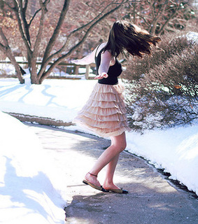 girl, skirt and snow