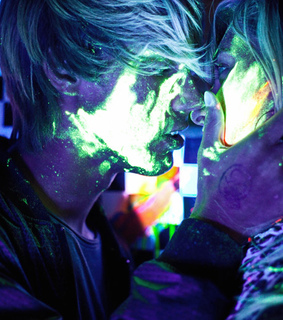 blacklight, chess and glowstick