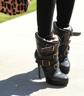 black, boots and buckles