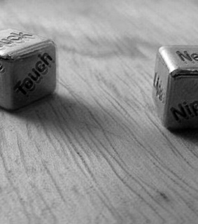 black and white, dados and dice