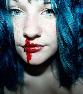 blue, girl and nosebleed