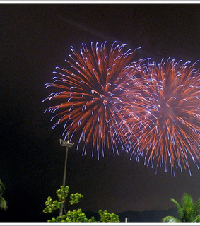 beach, brazil and fireworks