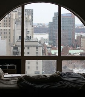 architecture, bedroom and cityscape
