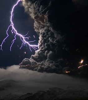 art, ash and lightning and clouds