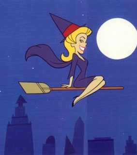 bewitched, blonde and broom stick