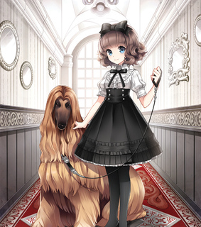 anime girl, big dog and black dress