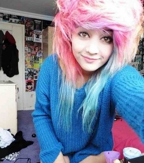 blue hair, blue sweater and girl