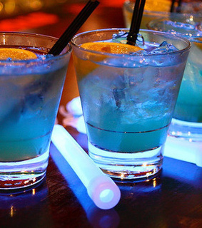 alcohol, blue and drink