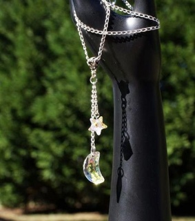 crystal moon, crystal necklace and crystal star