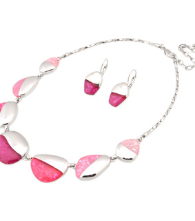 acrylic jewelry set, acrylic necklace set and asymmetric stone necklace