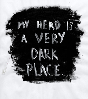 black and white, dark place and text