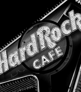 black and white, hard rock cafe and logo