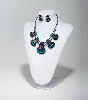 bib necklace, blue and fashion