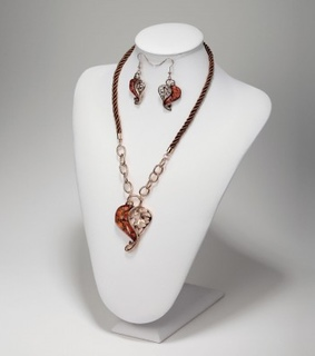 acrylic heart necklace and earring set, acrylic heart necklace set and amber heart necklace and earring set