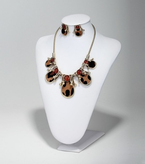 cabochon bead jewelry set, cabochon bead necklace set and leopard necklace earring set