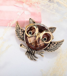 animal cocktail ring, antique owl ring and crystal owl ring