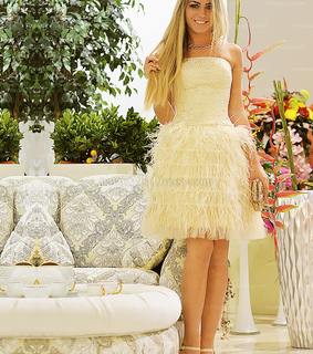 feather dress, ivory and short prom dress