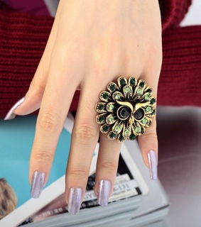 angry owl ring, antique gold owl ring and flowre owl ring