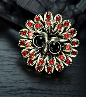 angry owl ring, antique gold owl ring and flower owl ring