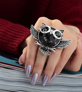 antique owl ring, crystal owl ring and owl cocktail ring