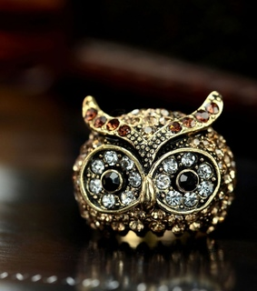 dome ring, gold plated owl ring and owl cocktail ring