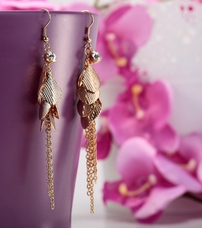 chain fringe earrings, gold charm earrings and gold plated dangle earrings