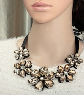 champagne crystal flower necklace, crystal flower bib necklace and crystal flower necklace
