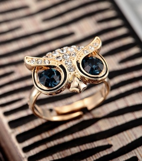 18k gold owl ring, accessories and adjustable owl ring