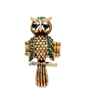 cocktail owl ring, crystal owl ring and gold owl ring
