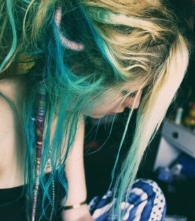 beauty, blonde hair and blue dreads