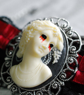 blood, cameo and choker