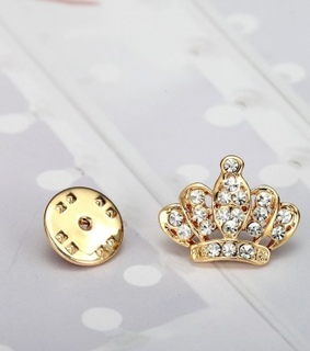crown pin, crown pin brooch and crystal crown pin