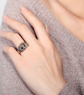 18k gold owl ring, antique owl jewelry and antique owl ring