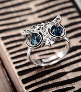 adjustable owl ring, beautiful and crystal owl jewelry