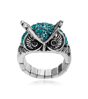 blue rings, chic and cocktail owl ring