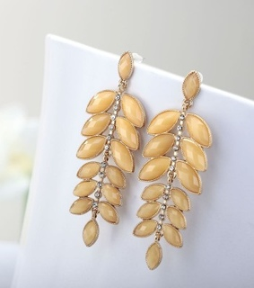 cluster leaves earrings, dangle leaf earrings and gold leaves earrings