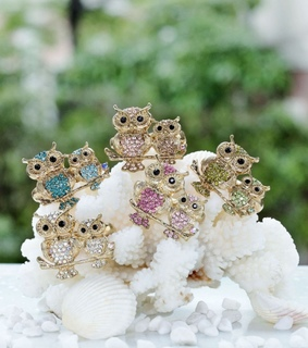 cute, gold owl rings and owl double finger rings