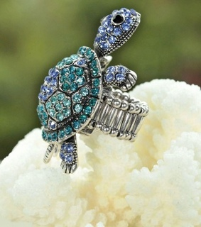 black turtle rings, blue turtle rings and cocktail turtle rings