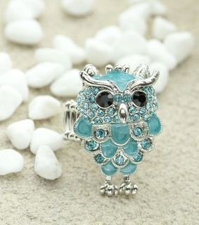 cocktail owl rings, cocktail owl silver ring and crystal owl rings