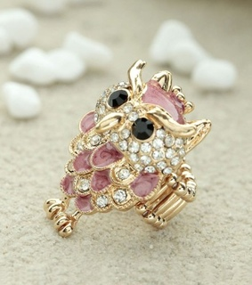 animal jewelry, cocktail owl ring and enamel owl ring