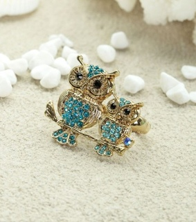 cocktail owl ring, gold owl rings and gold owl two finger rings