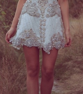 beaded dress, fashion and short wedding dress
