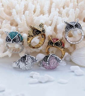 cocktail owl ring, crystal owl ring and dome owl ring