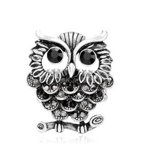 antique silver owl rings, owl statement rings and rhinestone silver owl rings
