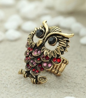 antique gold owl rings, gold owl rings and owl statement rings