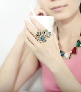 cocktail owl rings, gold owl rings and gold owl two finger rings