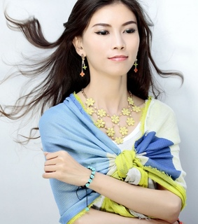 beautiful.yellow, cluster flower bib necklace and fashion