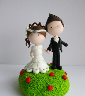 bride and groom, cake topper and couple